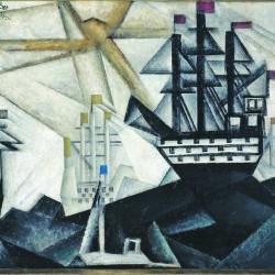 Feininger - Flotte de guerre, 1920, huile sur toile